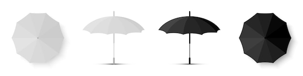Regenschirm weiße und schwarze farbe. render blank umbrella icons, isoliert. vektorillustration