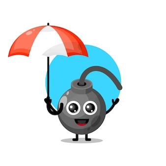 Regenschirmbombe süßes charaktermaskottchen