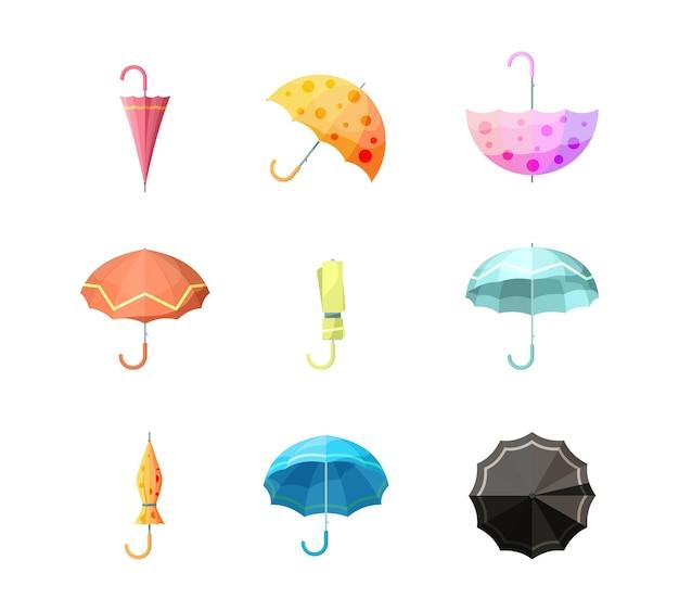 Regenschirme-symbol. artikelschutz vor herbstregen verschiedene ansichten der regenschirmvektorsammlung. schutzschirm, wetterschirm mit griffabbildung