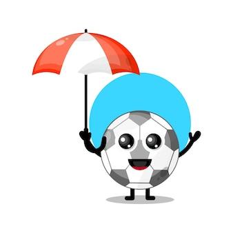 Regenschirmfußball niedliches charaktermaskottchen