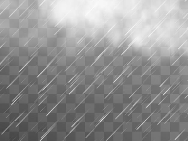 Regensturm und weiße wolken auf transparentem hintergrund.