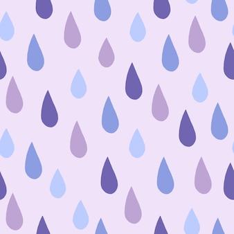 Regentropfen kritzeln nahtloses muster auf hellgrauem hintergrund.