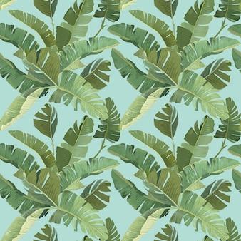 Regenwald-dekorative tapeten-verzierung mit grünen tropischen bananen-palmenblättern und -niederlassungen. papier, textildesign, nahtloses muster, botanischer tropischer druck auf blauem hintergrund. vektorillustration