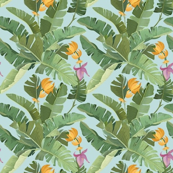 Regenwald-ornament mit grünen tropischen bananen-palmenblättern, früchten, blüten und zweigen. papier, textildesign, nahtloses muster, botanischer tropischer druck auf blauem hintergrund. vektorillustration
