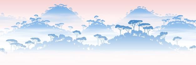 Regenwaldhügel, dschungel, panoramablick auf die südliche natur, sonnenaufgang