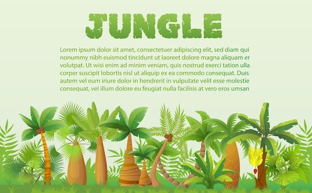 Regenwaldpalmen mit anderen tropischen exotischen pflanzenlandschaftsfahne