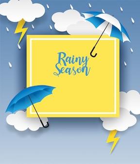 Regenzeit. design mit regnerischen tropfen, regenschirm und wolken auf blauem hintergrund. vektor.
