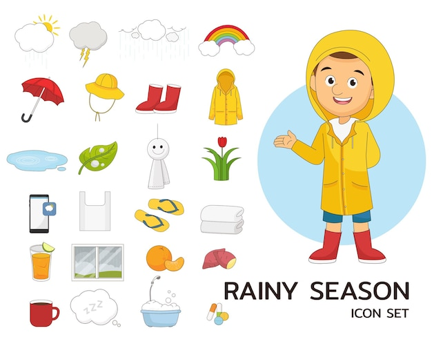 Regenzeit stellte konzept flache ikonen ein