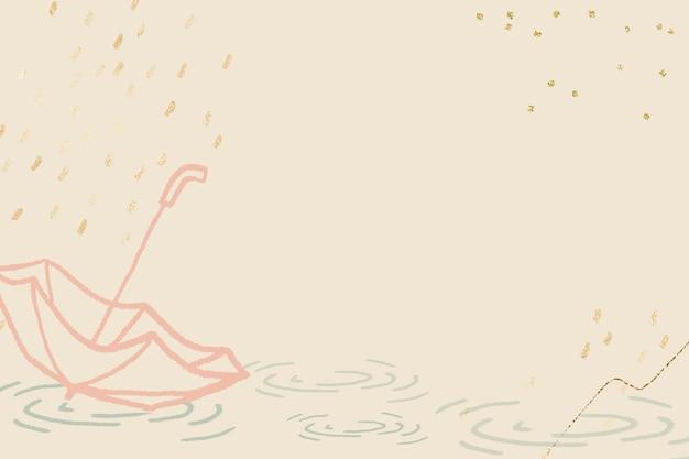 Regenzeithintergrundvektor in pastellgelb mit netter regenschirmillustration