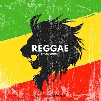 Reggae-art hintergrund mit einem löwen