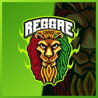 Reggae lion maskottchen esport logo design illustrationen vektorvorlage, tiger logo für team game streamer youtuber banner twitch discord, vollfarb-cartoon-stil