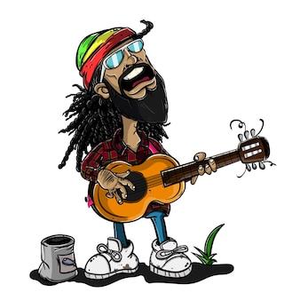 Reggae-mann, der mit gitarrenkarikatur singt