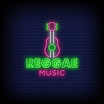 Reggae music neon signs style text