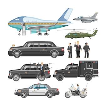 Regierungsauto präsidentenauto und luxusgeschäftstransport mit polizeiautoillustrationssatz des transportflugzeugfahrzeugs und des motorrads mit präsident auf weißem hintergrund