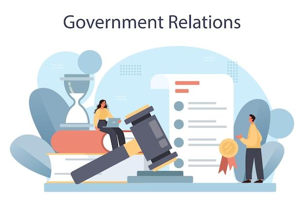Regierungsbeziehungen öffentliche verwaltung und werbung. flache vektorillustration