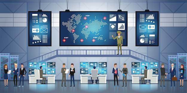 Regierungsüberwachungsbehörde und militärische gemeinsame operation. menschen und militär arbeiten im system control center.