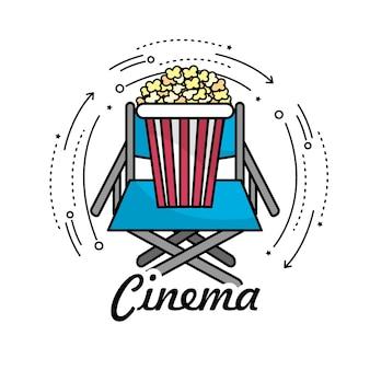Regiestuhl mit popcorn-snack
