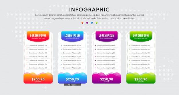 Registerkarte infografiken mit vier datenvorlage