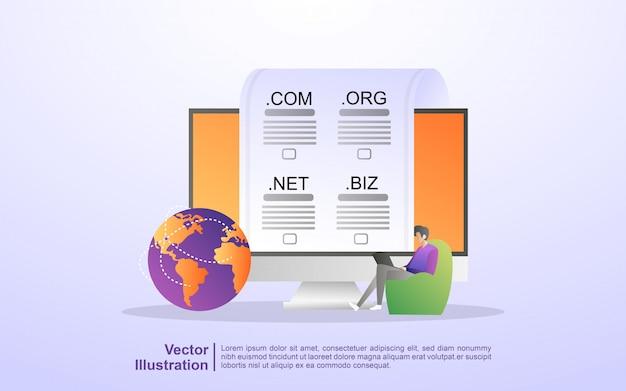 Registrieren sie eine website-domain und wählen sie die richtige domain aus