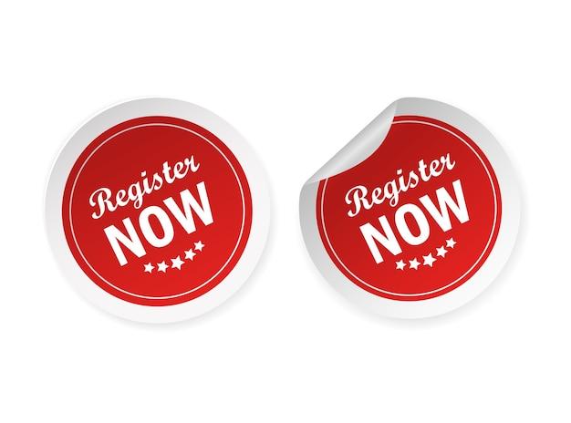 Registrieren sie jetzt aufkleber für banner. moderne werbevorlage. verkauf website banner.