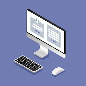 Registrierungsformular und anmeldeformularseite auf dem isometrischen computerbildschirm.