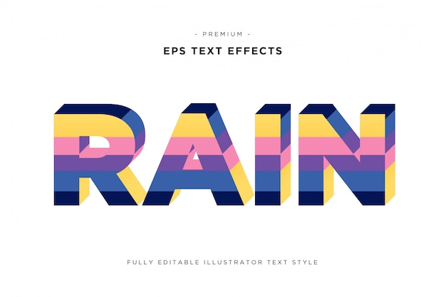 Regnen sie bunte art des textes 3d - texteffekt des streifens 3d