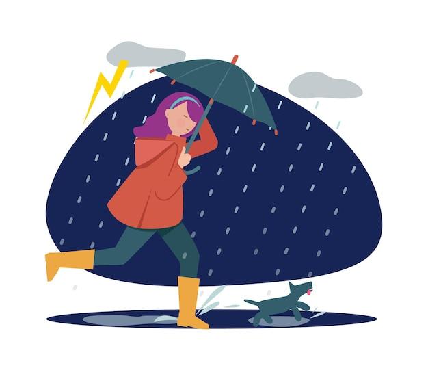 Regnerisches wandern mit hund. mädchen mit regenschirm bei sturmwetter, herbstsaison. haustierhalter-gehzeit-vektor-illustration. mädchen und hund unter regenschirm im regnerischen herbst