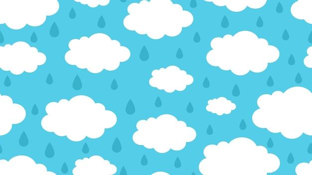 Regnerisches wolkenmuster. saisonwetter, regentropfen und weiße wolkenvektor nahtlose textur. wolkenwettersaison, regennaturtapetenillustration