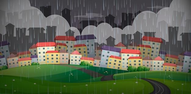 Regnet über die große stadt