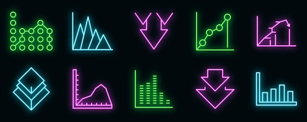 Regressionssymbole gesetzt. umrisse von regressionsvektorsymbolen neonfarbe auf schwarz
