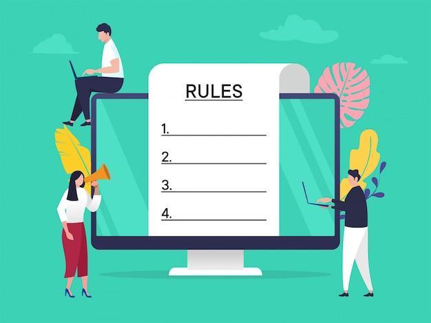 Regulierungskonformitätsregeln gesetz illustrationskonzept, menschen, die regeln mit großem computer und papier verstehen