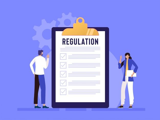 Regulierungskonformitätsregeln gesetz illustrationskonzept, menschen, die regeln mit großer zwischenablage und papier verstehen