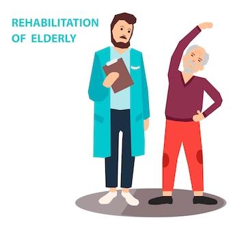 Rehabilitation älterer menschen mit körperlicher bewegung