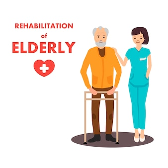 Rehabilitation für ältere menschen im reha-zentrum werbung
