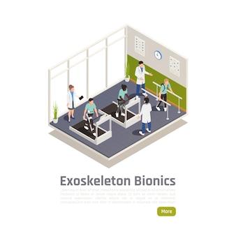Rehabilitation für behinderte menschen, die ein isometrisches poster mit exoskelett tragen, mit medizinischem personal, das patienten im fitnessstudio trainiert