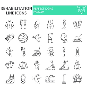 Rehabilitation linie icon-set