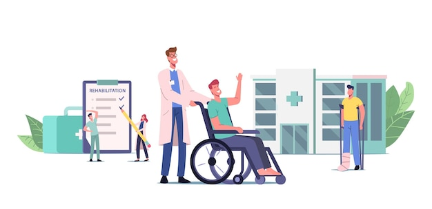 Rehabilitationskonzept. arzt-push-rollstuhl mit verletztem charakter mit bandagiertem bein, patient mit gebrochenen gliedmaßen, behinderte person auf krücken mit fußbandage. cartoon-menschen-vektor-illustration