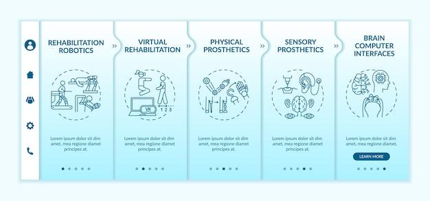Rehabilitationstechnik verwendet onboarding-vektorvorlage. responsive mobile website mit symbolen. webseiten-walkthrough-bildschirme in 5 schritten. brain computer interfaces farbkonzept mit linearen illustrationen