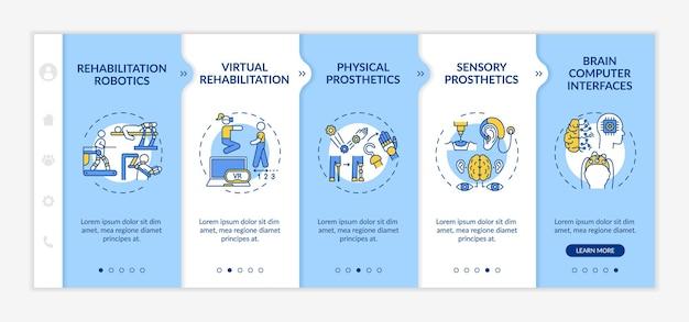 Rehabilitationstechnik verwendet onboarding-vektorvorlage. responsive mobile website mit symbolen. webseiten-walkthrough-bildschirme in 5 schritten. sensorische prothetik farbkonzept mit linearen illustrationen