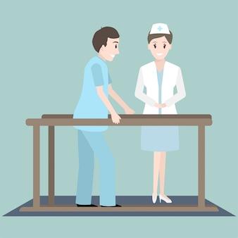 Rehabilitierung körperlicher übungen von patient und krankenschwester Premium Vektoren