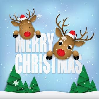 Rehe glückliche frohe weihnachten.