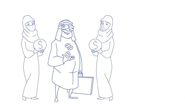 Reiche arabische digitale gläser der virtuellen realität der geschäftsmannabnutzung mit der frau, die gelddollar hält, prägt geschäftserfolg-skizzengekritzel