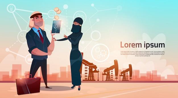 Reiche arabische geschäftsmann-öl-handelspumpjack rig platform black wealth concept