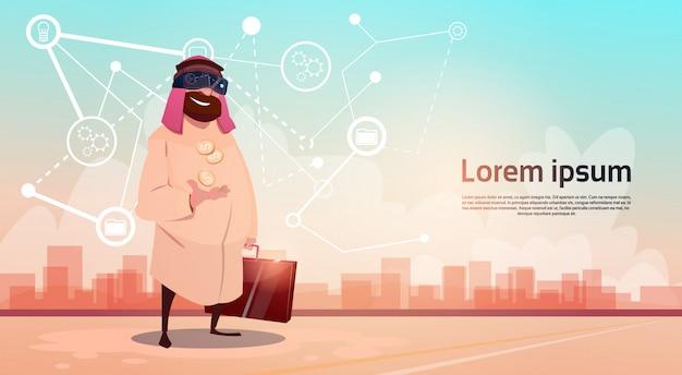 Reiche arabische geschäftsmann wear digital glasses virtual reality-ölextraktions-geschäftserfolg