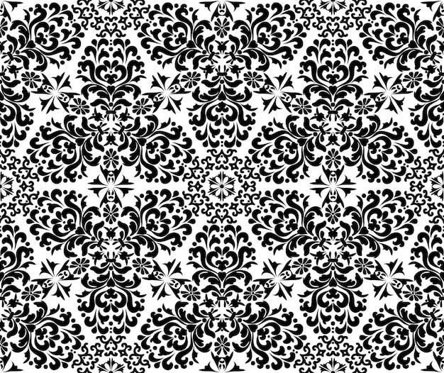 Reiche damast ornament nahtlose muster schwarz-weiß-dekorative textur mehndi-muster
