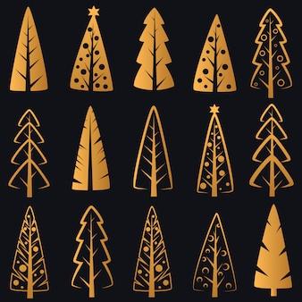 Reiche dekorative goldene luxusweihnachtsbäume auf dunkelblauem hintergrund