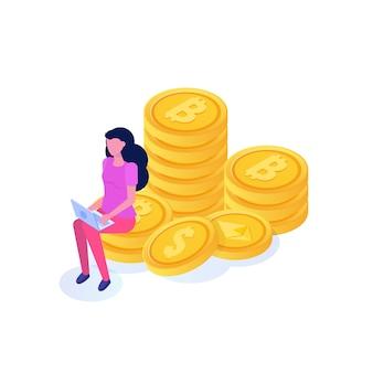 Reiche geschäftsfrau, die auf münze sitzt, isometrisches konzept der bitcoin-säulen. illustration