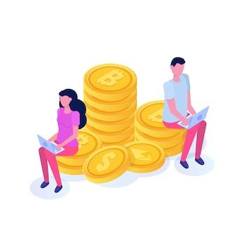 Reiche geschäftsfrau und geschäftsmann sitzen auf münze, bitcoin säulen isometrisches konzept. illustration