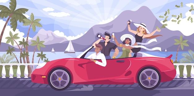 Reiche jugendflachkomposition mit tropischen landschaftsbergyachten im freien und einer gruppe von jugendlichen, die cabrio-illustration reiten