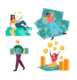 Reiche leute mit viel geld isolierten set-cartoon